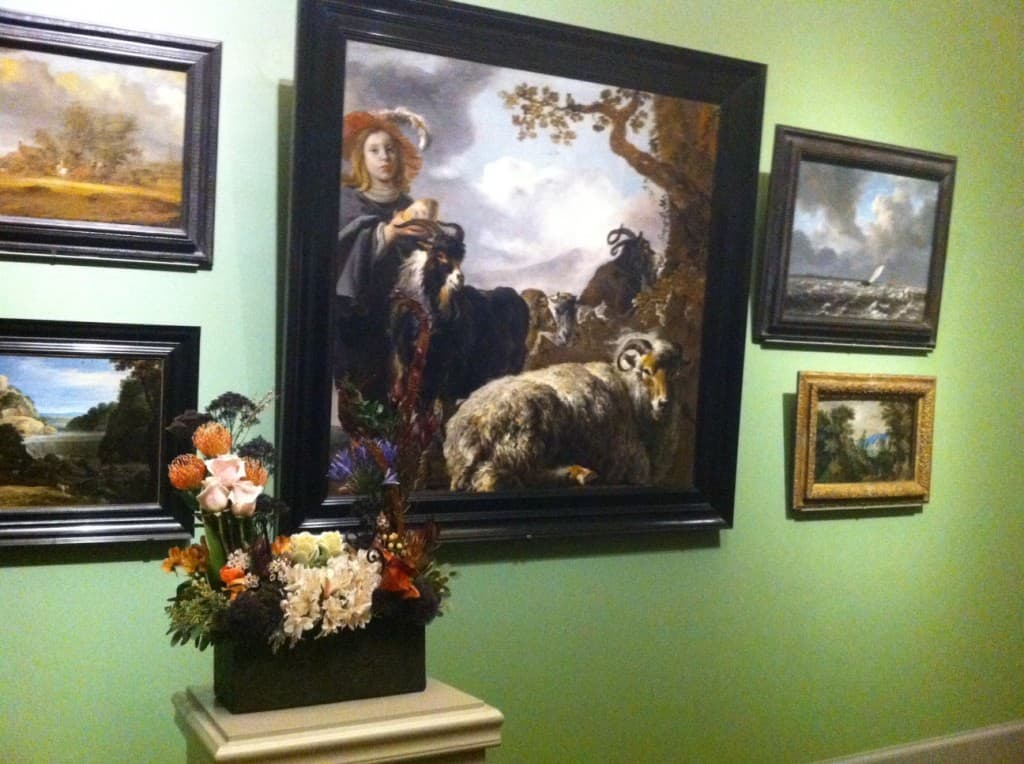 """Young Shepherd with Sheep and Goats"" by Jan Baptist Weenix and Bartholomeus van der Helst Flowers by Young Farwell/Helen Blazis"