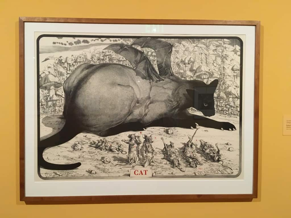 """Cat and Mouse"" (1975) by Robert A. Nelson, on exhibit at the Worcester Art Museum"
